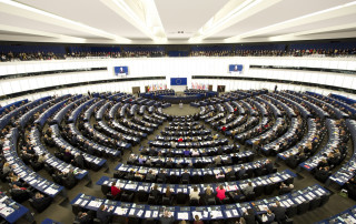 A wide view of the European Parliament in Strasbourg, France, as Secretary-General Ban Ki-moon addresses the Parliament at its 60th anniversary commemoration of the European Convention on Human Rights.
