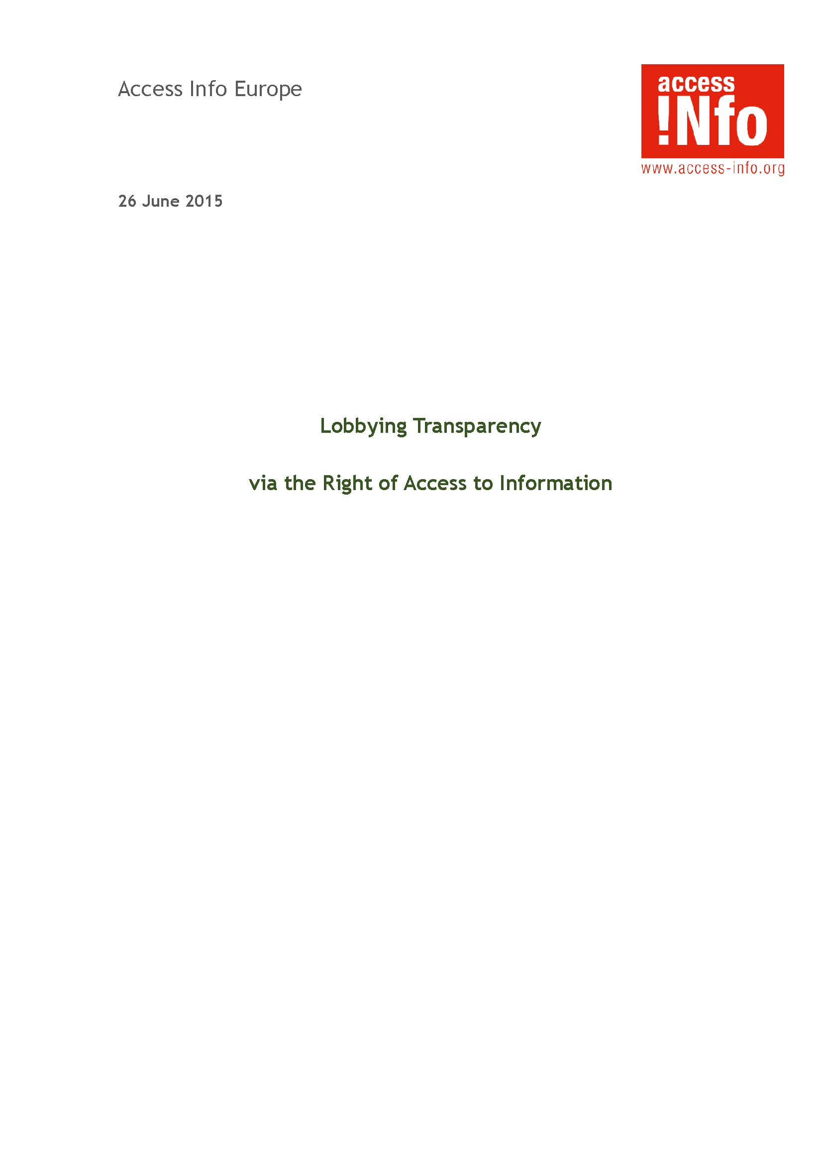 Lobbying Transparency via RTI Laws