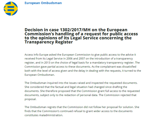 European Ombudsman: European Commission was wrong to withhold its legal advice on the future Lobby Register from Access Info